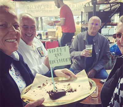 birthday cake and customers