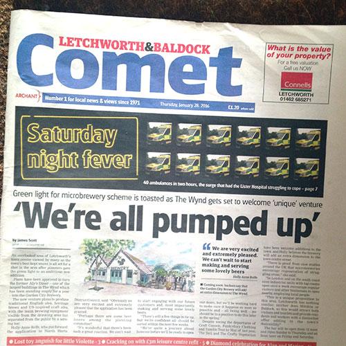 Letchworth & Baldock Comet newspaper cover announcing launch of Garden City Brewery