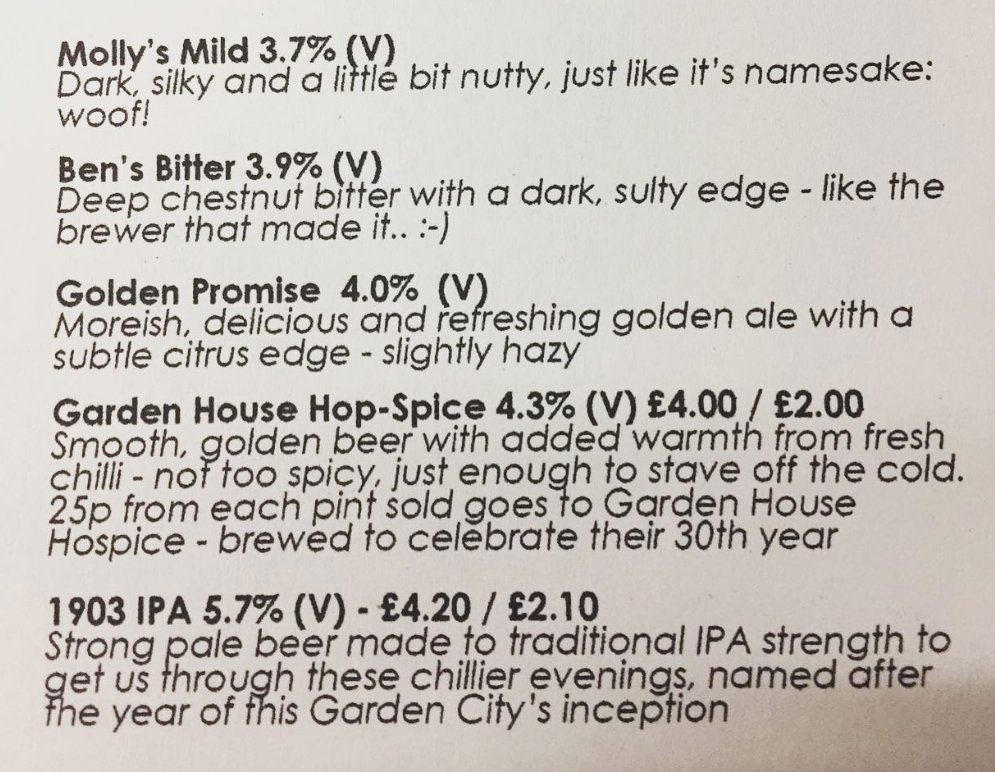 Ale list from Garden City Brewery, Letchworth