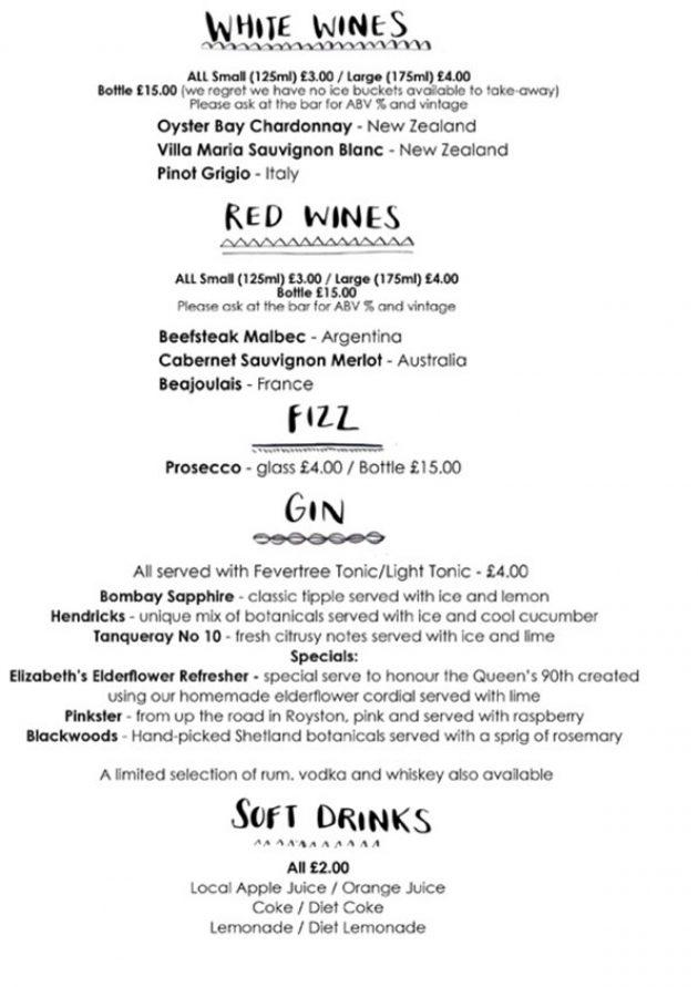 sample menu for Garden City Brewery